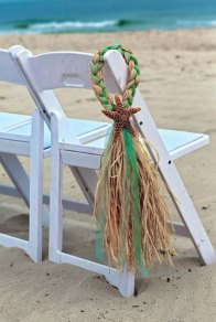 Starfish and raffia chair decorations, by OneFunDay on etsy.com