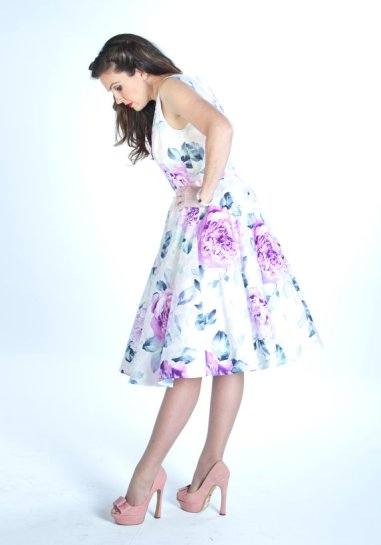 Peony-print dress, by MaisyBrownReproRetro on etsy.com