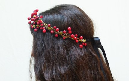 Berry hair wreath, by BloomDesignStudio on etsy.com
