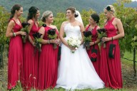 Bridesmaids in raspberry {via polkadotbride.com}