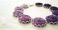 Rose fabric bracelet, by LittleLivingstone on etsy.com