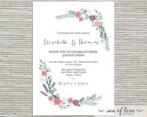 Wedding invitation, by SeaOfLoveStudios on etsy.com
