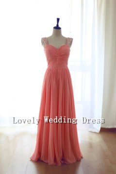 Coral bridesmaid dress, by LOVELYWEDDINGDRESS on etsy.com
