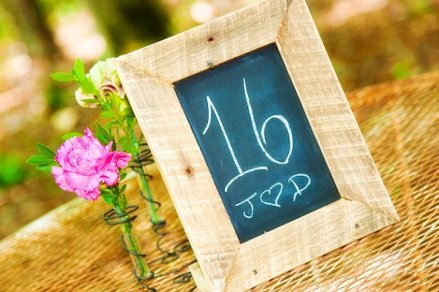 Framed chalkboard table number, by thefunkyshack on etsy.com