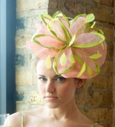 Apple green and pink fascinator, by Masinaco on etsy.com