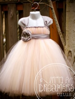 Blush and grey flower girl tutu, by littledreamersinc on etsy.com