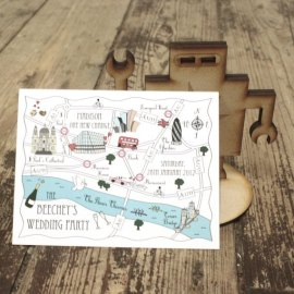 Customised map postcards for your guests, by cutemaps on etsy.com