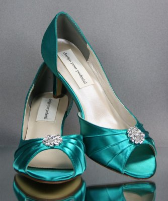 Jade wedding heels, by DesignYourPedestal on etsy.com