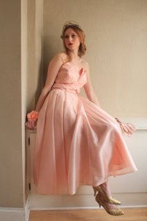 Vintage peach dress, by HarlowGirls on etsy.com