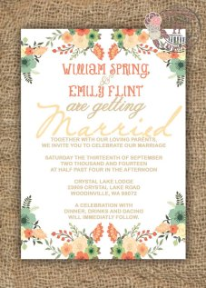 Wedding invitation, by FPStationary on etsy.com