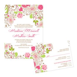 Wedding invitation in apple green and light pink, by PaperPartyCo on etsy.com