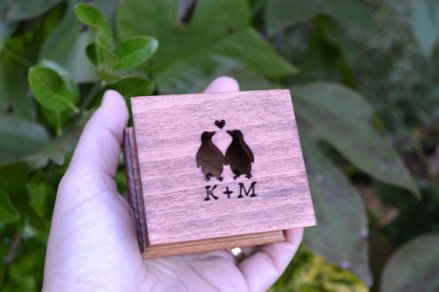 Custom-made wooden ring box, by Simplycoolgifts on etsy.com