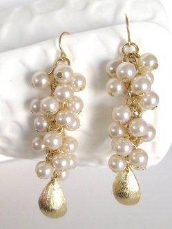 Gold and white earrings - www.etsy.com/shop/LoveShineBridal