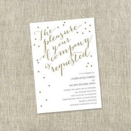 Gold and white wedding invitation - www.etsy.com/shop/TheChambrayBunny