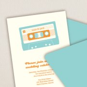 Mix tape wedding invitation, by SilhouetteBlue on etsy.com