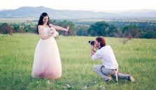 Pink ombre bridal gown, by ouma on etsy.com