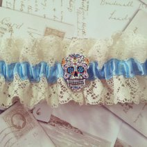 Something blue sugar skull garter, by OohLaLaBoudoir on etsy.com