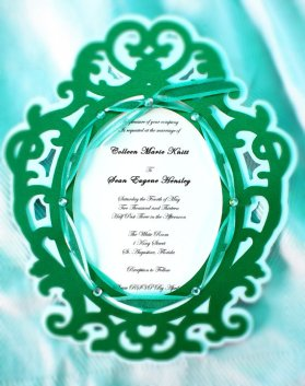Emerald-green wedding invitation - www.etsy.com/shop/SnowcaptDesigns