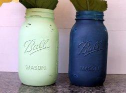 Navy and mint mason jars - www.etsy.com/shop/TooCuteWreath