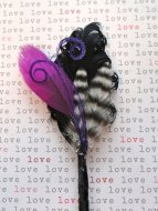 Black, white and purple feather boutonniere - www.etsy.com/shop/OhPeacockFeathers