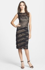 Marina Pleat Mesh & Tiered Lace Sheath Dress - nordstrom.com