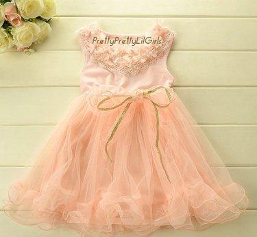 Peach flower girl dress - www.etsy.com/shop/PrettyPrettyLilGirls