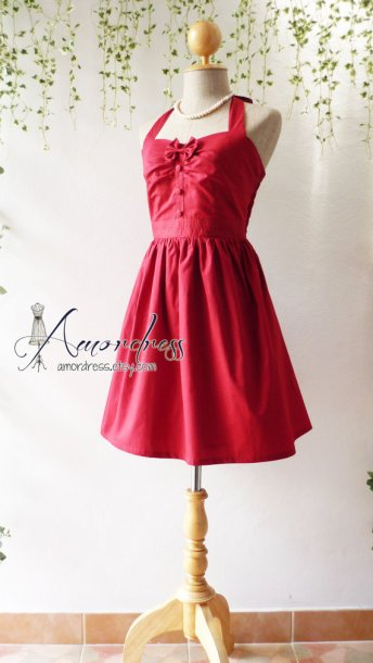 Red vintage-style bridesmaid dress - www.etsy.com/shop/Amordress