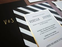 Black, white and gold wedding invitation - www.etsy.com/shop/LittleBridgeDesign