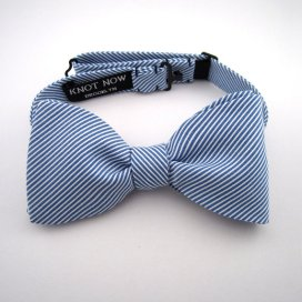 Navy and white striped bow tie - www.etsy.com/shop/KnotNowBowTies