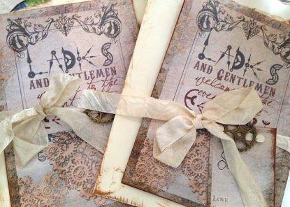 Steampunk wedding invitation - www.etsy.com/shop/youruniquescrapbook