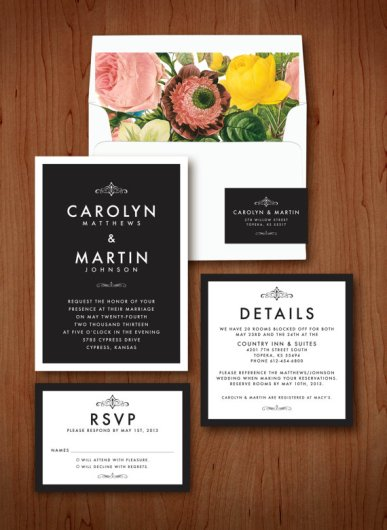 Modern elegant wedding invitation - www.etsy.com:shop:QuiteFetchingInvites