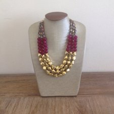 Fuchsia and gold necklace - www.etsy.com/shop/icravejewels