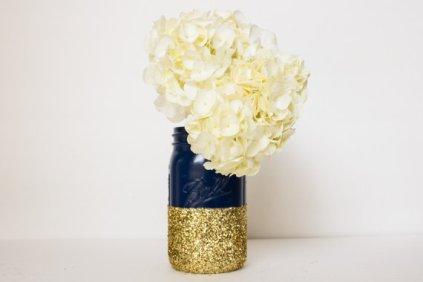 Navy and gold glitter mason jar vase - www.etsy.com/shop/CharminglyKristin