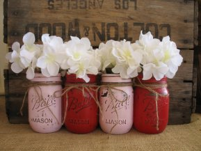 Pink and red mason jars - www.etsy.com/shop/TheShabbyChicWedding