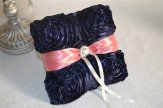Coral and navy ring pillow - www.etsy.com/shop/ForeverLoveNotes