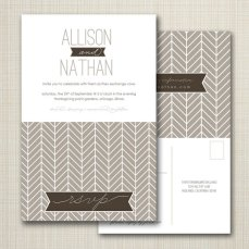 Herringbone wedding invitation with perforated rsvp postcard - www.etsy.com/shop/westwillow
