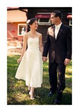 Lace and satin tea-length wedding dress (US$420) - www.etsy.com/shop/porshesplace