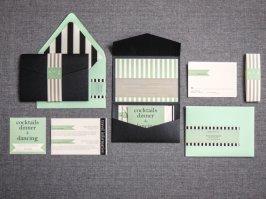 Mint and black wedding invitation - www.etsy.com/shop/JulieHananDesign