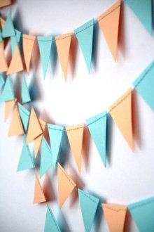 Peach and light blue flag garland - www.etsy.com/shop/Needlejob