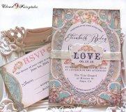 Peach and light blue wedding invitation - www.etsy.com/shop/Cloud9Fairytales