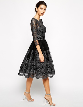 Chi Chi London Premium Metallic Lace Midi Dress with Bardot Neck, from asos.com