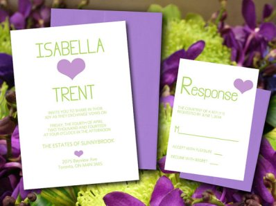 Downloadable lilac and green wedding invitation - www.etsy.com/shop/PaintTheDayDesigns