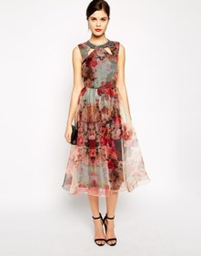 Little Mistress Printed Organza Dress, from asos.com