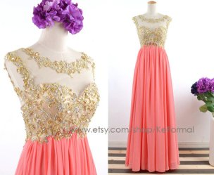 Coral and gold wedding dress - www.etsy.com/shop/KeFormal