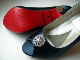 Navy wedding heels with red soles - www.etsy.com/shop/norakaren