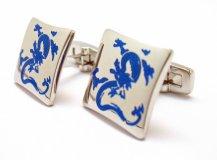 Cobalt and silver dragon cufflinks - www.etsy.com/shop/PerfectCufflinks
