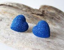 Cobalt glitter heart earrings - www.etsy.com/shop/LittleBearsMom