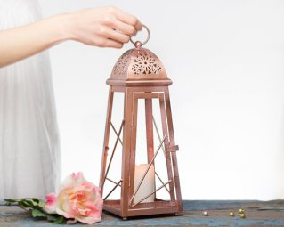 Rose gold table lantern - www.etsy.com/shop/OpenVintageShutters