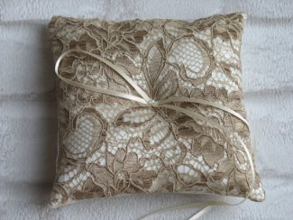 Taupe lace ring pillow - www.etsy.com/shop/WonderlandFound