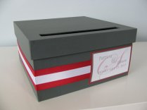 Red and grey wedding card box - www.etsy.com/shop/astylishdesign